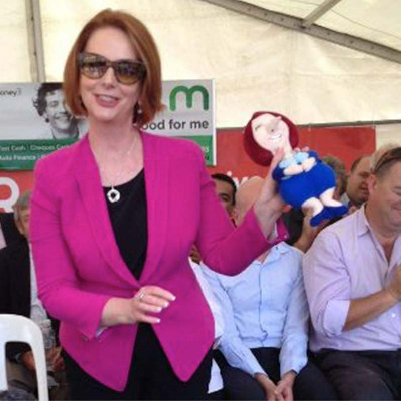 Julia Gillard with funny Dog Chew Toy