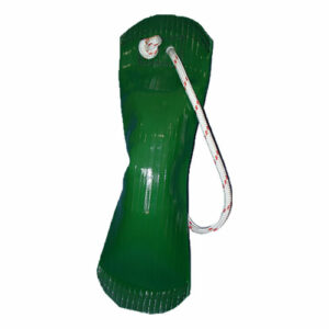 green bag made of firehose with handle