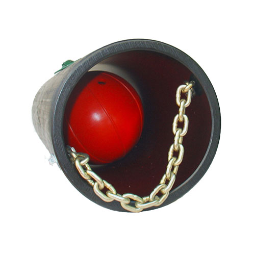 black tube with red ball attached with chain