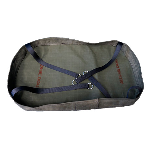 round hammock made of canvas with black straps