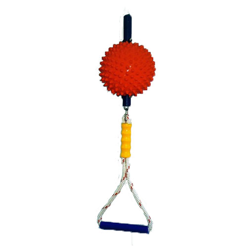 red ball attached by tube with yellow handle and swing