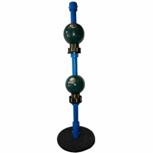 long blue pole with two green balls and seat