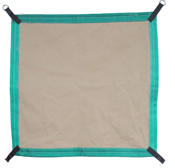 hammock with brown canvas material and short straps