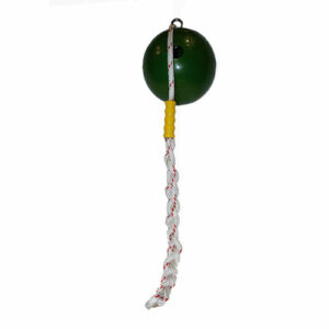 green ball attached with white and red rope