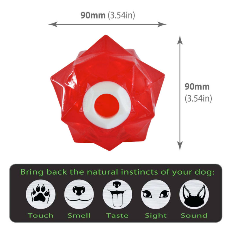 Aussie Dog Products Monster Treat Ball Red with dimensions chart
