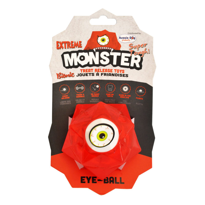 Aussie Dog Products Monster Treat Ball Red in Packaging