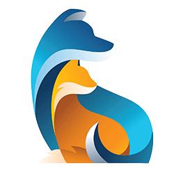 blue dog orange cat silhouette