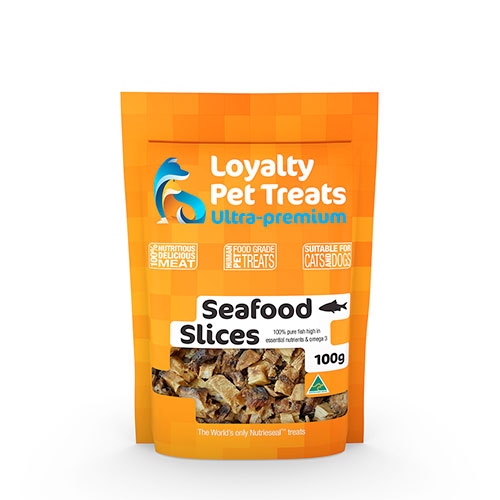 bg of pet treats seafood slices